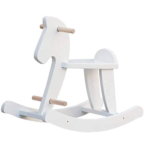 labebe - Wooden Rocking Horse, Baby Wood Ride On Toys for 18 Months Up, White Rocker Toy for Kid, Toddler Ride Animal Indoor/Outdoor, Boy&Girl Rocking Animal, Infant Ride Toy, Christmas/Birthday Gift