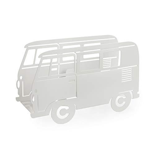 balvi-VanDekorativerZeitungsständerinFormeinesRetro-Kombiwagens.Farbe:Weiß.AusMetall.