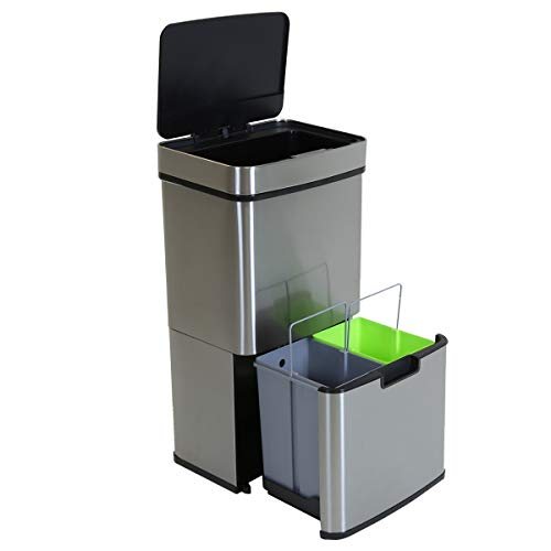 Charles Bentley Triple Compartment Stainless Steel 62L Sensor Bin Recycle Waste Rubbish Trash Bucket Soft Close Timer Automatic Lid 75cm
