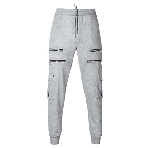 XYYGF Nuevos Monos de Camuflaje para Hombre Pantalones de chándal Pantalones de chándal para Hombre Pantalones Cargo-L_Light_Grey