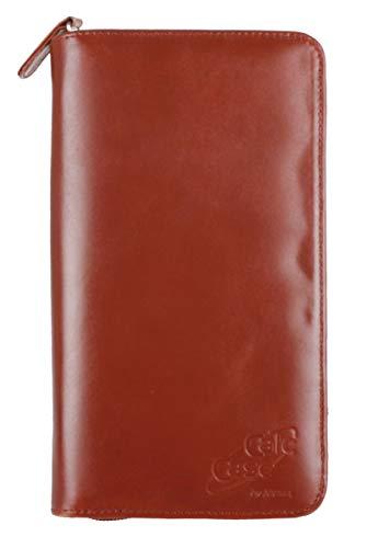 Schutztasche für Grafikrechner aus braunem Rindsleder mit 2-fach Stifthalter/extra Ablagefach (CalcCase)