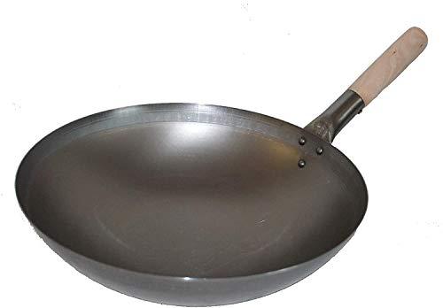 MoebelwerteWok ca. 32 cm Durchmesser mit rundem Boden für Gas, Gastronomie, Wokpfanne
