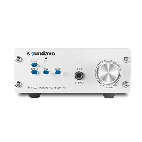 Soundavo HP-DAC1 Digital to Analog Converter / Headphone Preamp DAC with S/PDIF, Line, USB Input for PC/Laptop