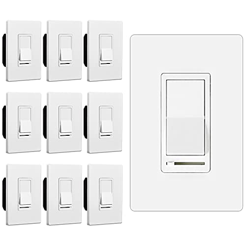 [10 Pack] BESTTEN Dimmer Light Switch, 3 Way or Single Pole, for Dimmable LED, Incandescent, Halogen Bulbs and CFL Lamps, Screwless Wallplate Included, UL Listed