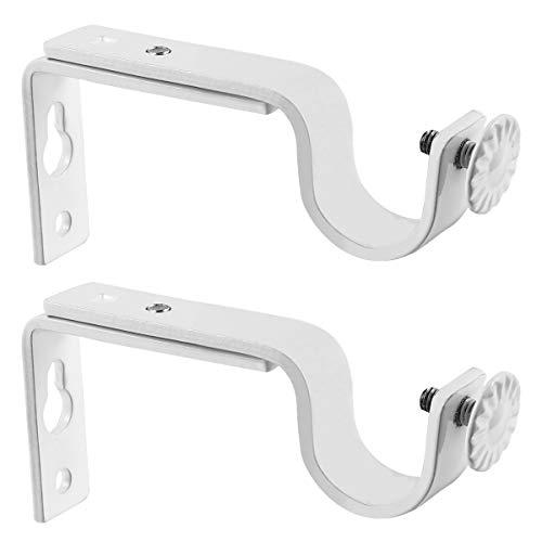 WINOMO 2 stücke 18-22mm Einstellbare Vorhang Halter Vorhang Vorhängestange Halterung (Weiß)