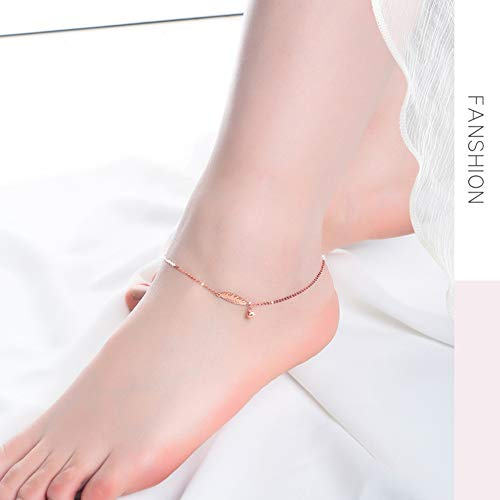 DXGD Oro Rosa de 18 Quilates Tobillera Ajustable - Clásico Cadena Pulseras...