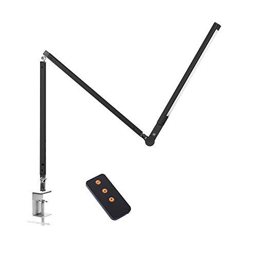 ACMHNC 9W Lámpara de Lectura LED Regulable Con Control Remoto, Lámpara de Escritorio Abrazadera, Lámpara de Clip Táctil Lámpara de Mesa Brazo Largo Plegable Giratoria Para Libros,Cama,Oficina,Negro