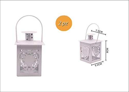 Takestop® lantaarn voor kaarsen, set met 2 stuks, metalen hart wit, 6,2 x 7,5 x 6 cm, decoratie voor tafels, kaarsen, shabby-chic-decoratie, feestdecoratie