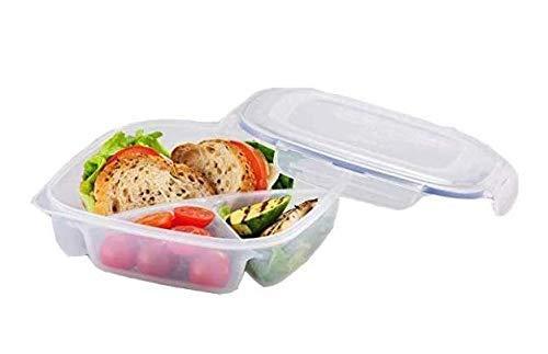 LOCK & LOCK Frischhaltedosen aus Kunststoff – quadratisch – Lunchbox mit Trennfach – 1,5 l
