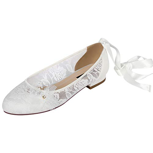 ERIJUNOR ER-0179 Women Comfort Ballet Flats Closed Toe Lace Strap Wedding Bridal Shoes Ivory Size 8