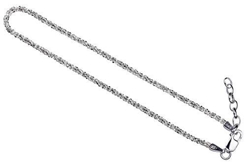 SILBERMOOS Damen Armband Criss-Cross diamantiert 1,4 mm außergewöhnliches Geflecht 18 cm + Verlängerung Qualitätsarmband aus Italien 925 Sterling Silber