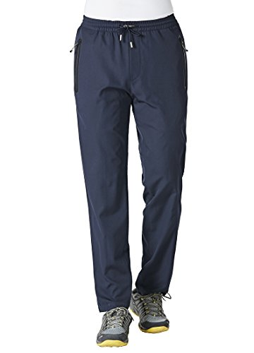 Rdruko Men's Sweatpants with Zipper Pockets Open Bottom Athletic Pants for Jogging, Workout, Gym, Running, Training(Navy Blue, US L)