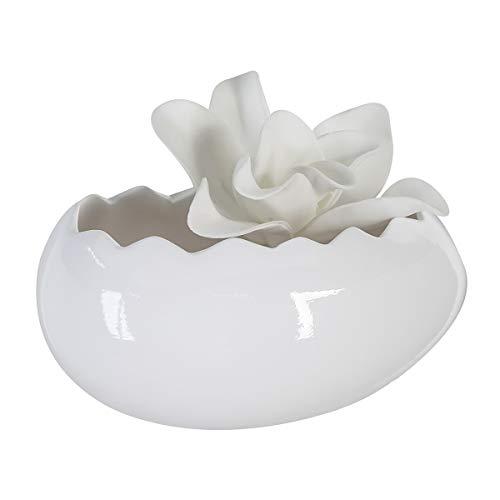 dekojohnson Deko-Schale Eiform Osterschale Obstschale Osterdeko Tischdeko Deko-Eierschale Keramikschale Servierschale weiß 14x20x11cm groß