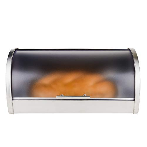 Bread Box for Kitchen Bread Storage Bin Stainless Steel with Frosted Acrylic Roll Top