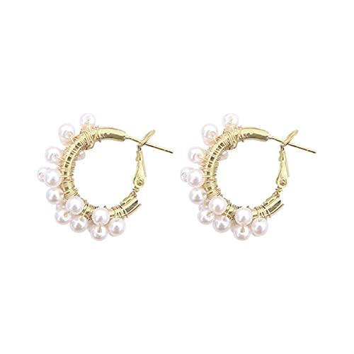 DHDHWL Pendientes de perlas retro para mujer con temperamento de hadas, de gama alta (color: S)