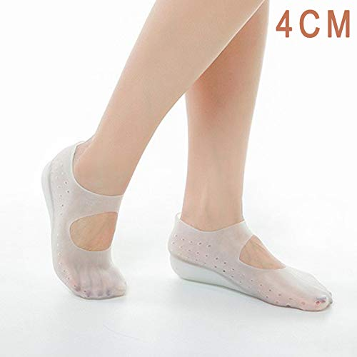 Wellouis 1 Pair Invisible Height Lift Heel Pad Sock Liners Increase Insole Silicone for Women Men