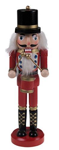 Clever Creations Klassischer Nussknacker-Trommler - traditionelle Uniform mit Trommel - toll für Jede Sammlung - dekorativ - für jeden Dekostil geeignet - 100% Holz - Rot & Gold - 25,4 cm