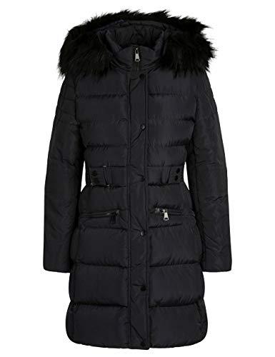 APART Warmer Damen Mantel, Steppmantel, abnehmbar: Kapuze und Kunstfell, mit Gürtel, dunkelblau, 34
