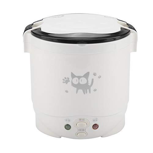 Cafopgrill 1L Elektrische Mini Reiskocher Thermische Heizung Elektrische Lunchbox Dampfgarer Kochbehälter Multikocher Verwendet in Hause 220 V Oder Auto 12 V LKW(Rosa)