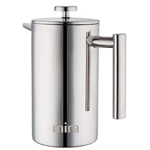 MIRA 20 oz Stainless Steel French Press Coffee Maker  Double Walled Insulated Coffee Tea Brewer Pot Maker  Keeps Brewed Coffee or Tea Hot  600 ml