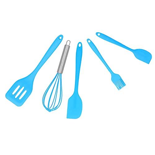 SALALIS El batidor de Huevos, decoración de la Torta del utensilio de Cocina de DIY ranuró el silicón de la espátula para la panadería(Set de 5 Piezas Azul)