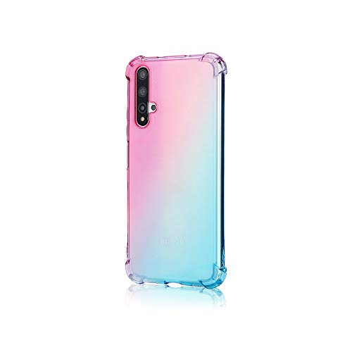 TANYO Hülle Geeignet für Huawei Nova 5T, Superdünn Weich Silikon Farbverlauf TPU Handyhülle, [Vier Ecken Verstärken] Stoßfest Transparent TPU Silikon Hülle Handyhülle. Pink/Grün