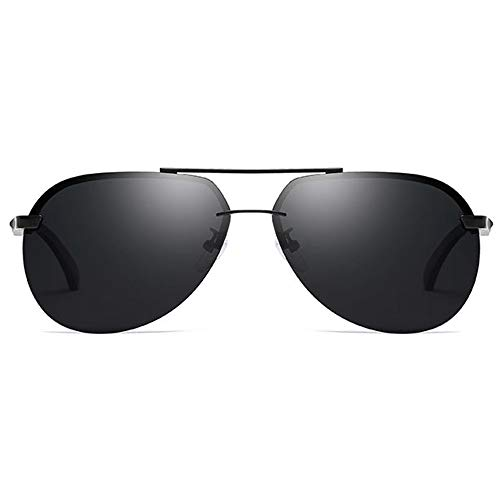 TYXL Sunglasses Las Nuevas Gafas De Sol Retro Polarizadas De Metal UV400 del Material Tienden A Las Gafas De Sol De Conducción De Los Hombres Negros/Verdes (Color : Black)