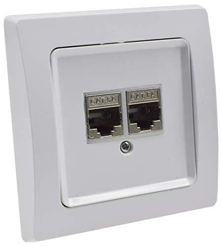 Delphi Netzwerk-Dose 2x CAT6, mit 1-fach Rahmen Unterputz Netzwerkdose Geschirmt Metall Gehäuse Weiß