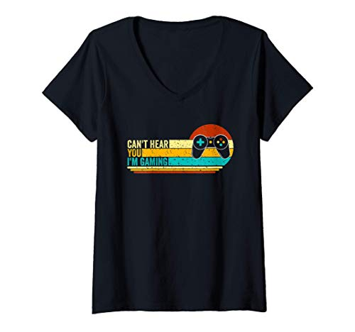 Womens Can't Hear You I'm Gaming V-Neck T-Shirt