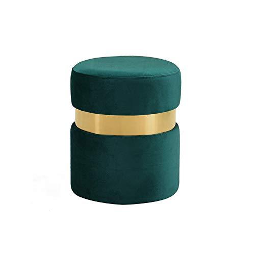 LIYUHOUZUONC Otomanas reposapiés Taburete Bajo Escabel Cambiar Zapatos Heces Nórdica Sofá Taburete Vestir Heces Tela Estilo Italiano (Color : Green)