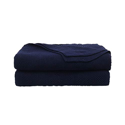 PiccoCasa 100% Cotton Knit Blanket Twin Size,Solid Lightweight Decorative Throws and Blankets,Soft Knitted Throw Blanket for Sofa Couch, Navy Blue 60' x 78'