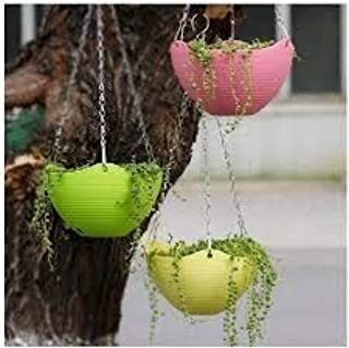 EaglesFord 3 Pcs Plain Color Round Plastic Hanging Planter Flower Pot with Metal Chain for Home and Garden Indoor Plant (M...