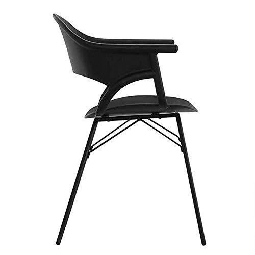 JIEER-C bureaustoel van kunststof met armleuningen, beensteun van metaal, vrijetijdsstoel, keuken, winkelcentrum, eetkamer, kantoor Blanco Y Gris