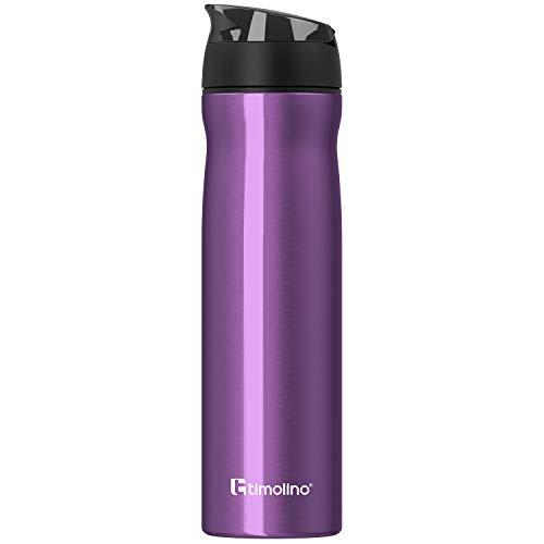 Timolino Botella de agua de acero inoxidable prémium, botella de agua para deportes, ocio, camping, 700 ml, a prueba de fugas, resistente a los arañazos, color morado