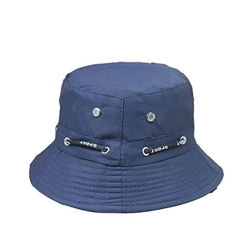 Sombrero Pescador Gorras Hombre Mujer Sombrero De Cubo De Color Sólido Hombres Mujeres Gorra De Panamá Playa Sol Pesca Sombrero De Pescador Gorras Planas Unisex-Navy_Blue