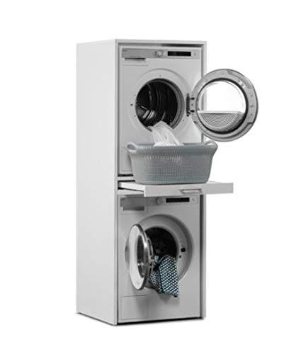 Waschmaschinenschrank - Der Waschturm - Trockner auf Waschmaschine - Stabil - 185 cm x 67 cm x 65 cm - Mit Ausziehbrett