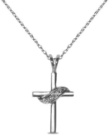 Royal Jewelz Las Vegas Mall .07ct accent diamond cross Special price for a limited time pendant 10k in necklace