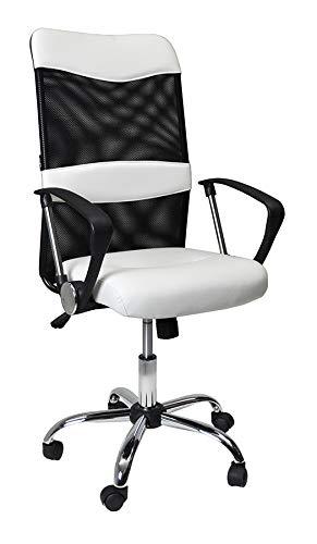 Sedia da Ufficio direzionale - Poltrona operativa Regolabile in Tessuto Traforato e Ecopelle Bianco MOD. Siena