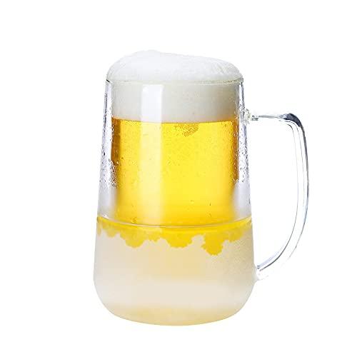 LIULIFE Tazas De Cerveza Helada para Congelador, Tazas De Cerveza Heladas De Gel De Doble Pared con Asa, Tazas De Vino Refrigeradas para Fiestas Y Regalos, Taza Transparente para Congelador De 16 Oz