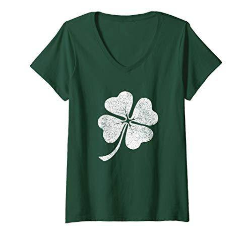 Mujer Trébol de hojas regalo de la suerte del día de San Patricio Camiseta Cuello V