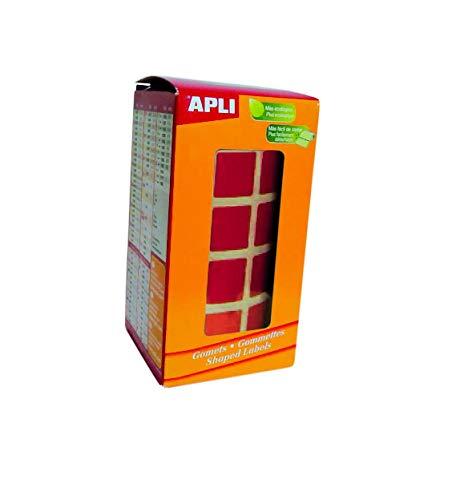 APLI 12477 - Gommettes Carrées en rouleau - Couleur : Rouge - Dimension : 15x15 mm