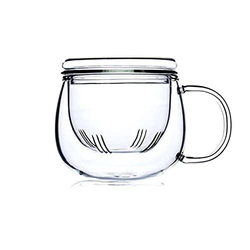 Taza De Cristal con Té Infusor Filtro Lid Lid Flores De Cerezo Flor Taza De Té Transparente Resistente Al Calor Resistente A Los Vidrios, Día De San Valentín, Cumpleañ(Color:A)