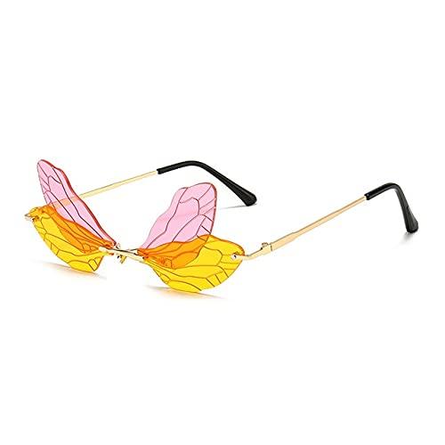 Gafas de Sol de ala de libélula sin Montura de Moda para Mujer Gafas de Lente de océano Transparentes Retro Hombres Gafas de Sol de Color Rosa Amarillo Sombra UV400