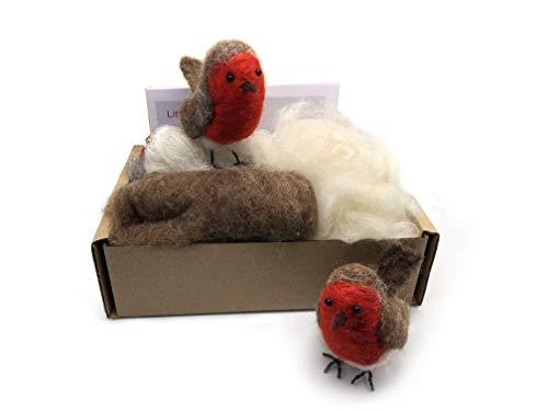 MillyRose Crafts Nadelfilz-Set für Anfänger – Bastelset für Erwachsene mit Filznadeln – 2 Weihnachts-Rotkehlchen – lustiges und unterhaltsames Hobby – Foto illustrierte Anleitung