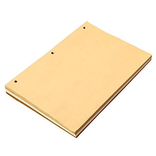 XIUJUAN Groß Notizbuch Weiße und Gelbe Leere Nachfüllseiten, Gut für Zeichnen und Skizzieren, 26 x 18 cm, 100 GSM, 90 Blatt, MEHRWEG