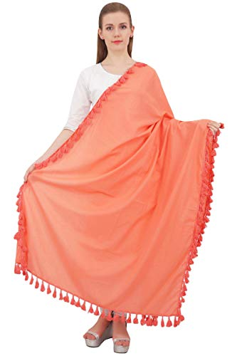 Phagun Cotton-Ansatz-Verpackung Indian Dupatta Chunni lange Stola Troddelschal-Lachs