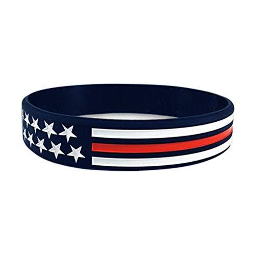 goneryisour Individualität Silikon-Gummi-Armband – USA Flagge Stern dünn rot blau weiß Linie Armreif Gr. One size, a