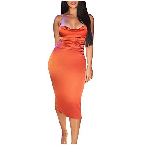 YANFANG Vestido Ajustado Mujer, Vestido Atractivo del Abrigo de la Cadera de la Banda Delgada de la Espalda Abierta del Color sólido de la Moda de Las Mujeres, L,Orange