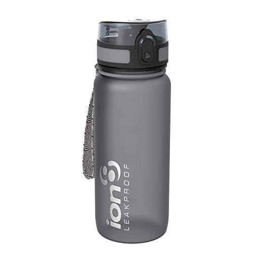 Ion8, Bottiglia per l'acqua, a prova di perdite, senza BPA., Unisex, Grigio (Frosted Grey), 650 ml ( 22oz )