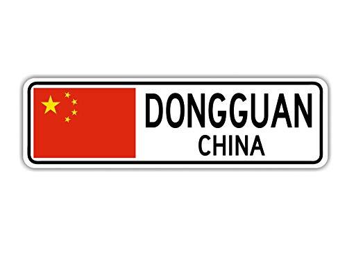 TammieLove Dongguan China Straßenschild Asiatische chinesische Flagge Stadt Landstraße Wandschild Straßenschild 10 x 40 cm